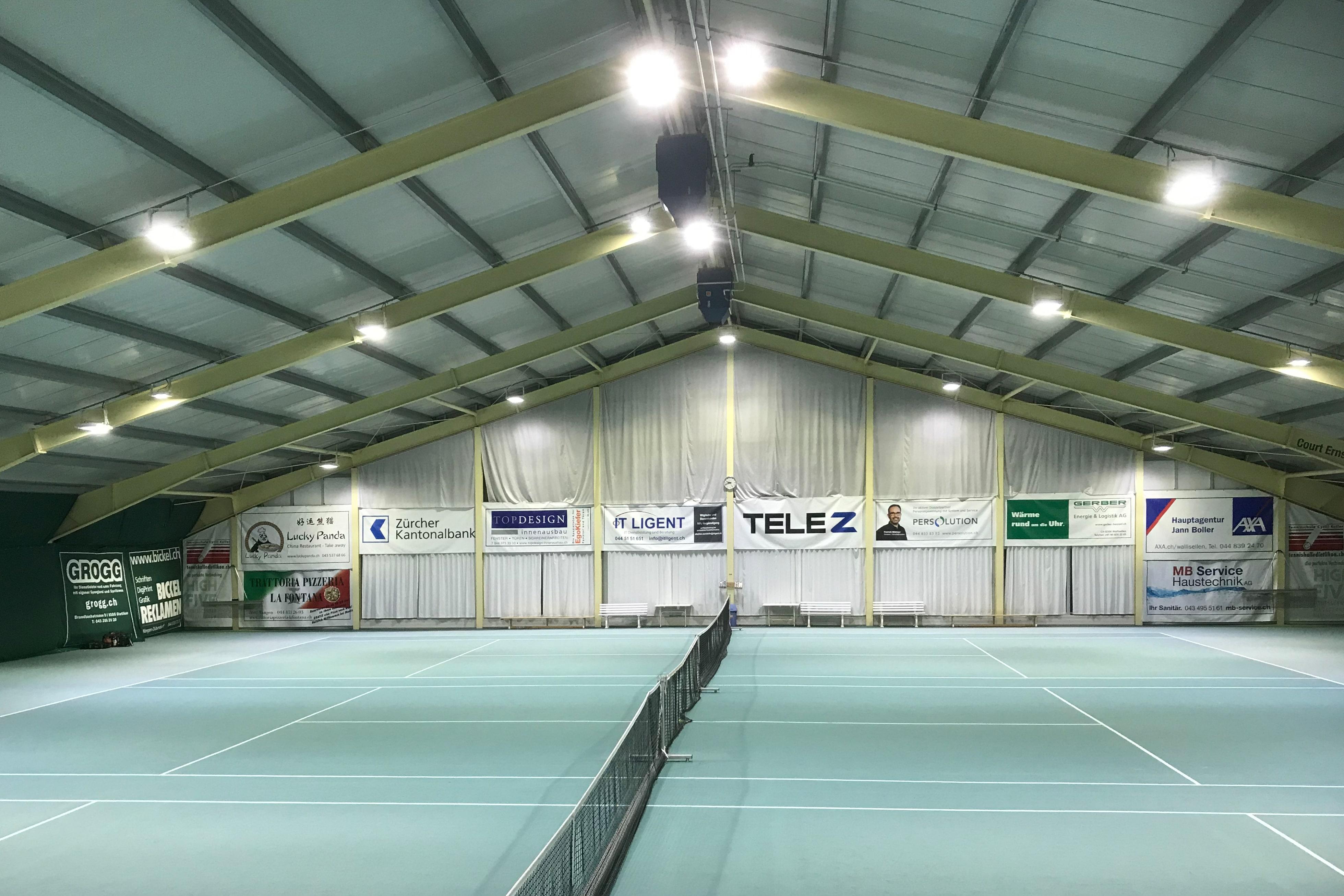 Bild der Tennishalle der Halsrüti AG