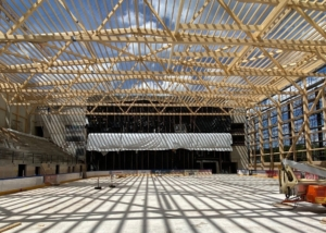 Bild des Rohbaus der neuen Eishalle in Pruntrut