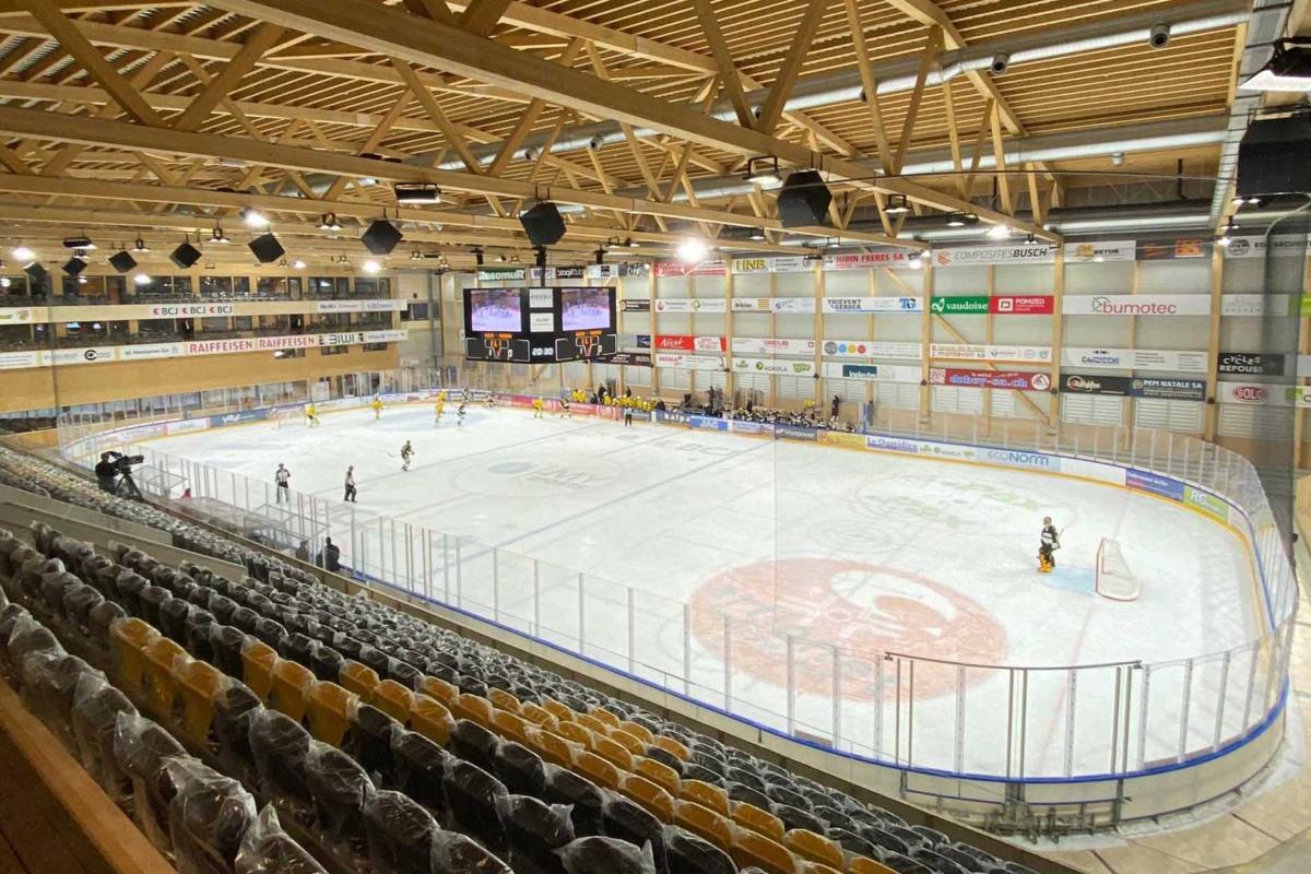 Bild des ersten Matches in der neuen Raiffeisen-Arena. Gespielt haben der HC Ajoie gegen den HC Thurgau.