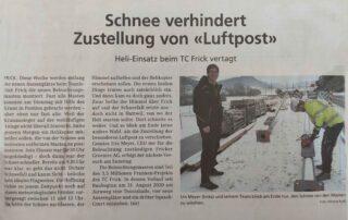 Bild des Zeitungsausschnittes aus der Neuen Fricktaler Zeitung